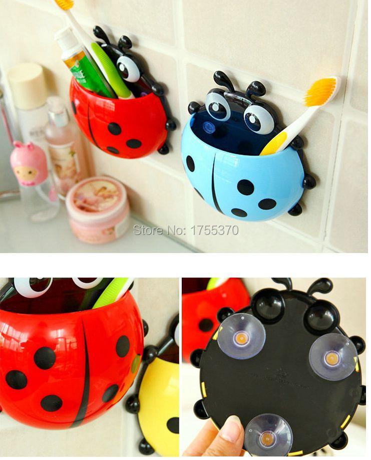 Super Lovely Ladybug Toothbrush Wall Suction Bathroom Sets Cartoon Sucker Toothbrush Holder With Suction Hooks Bath