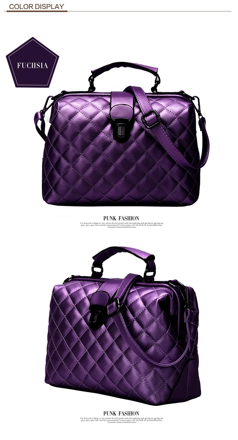 Trendy Diamond Lattice Doctor Bag Women 2016 New Fashion Handbag Classic Plaid Designer Casual Ladies PU Shoulder Bag