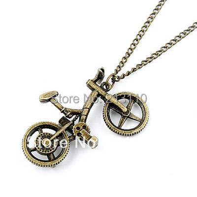 Hot! Fashion Newest Korean Retro Bicycle Pendant Long Necklace For Women(China (Mainland))