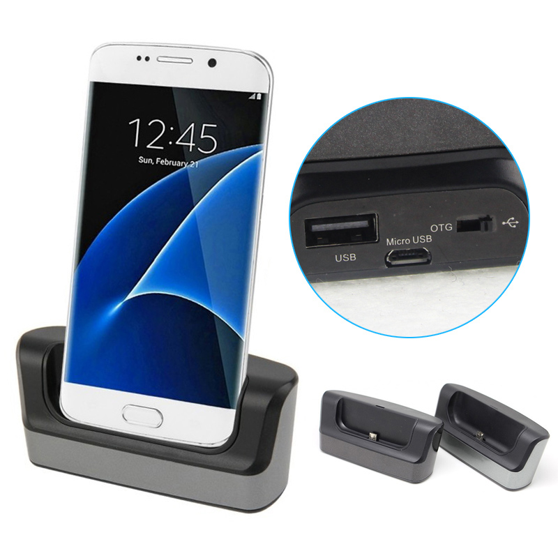 New Sync OTG USB Dual Docking Station Charger Charging Cradle Dock + Micro USB Cable For Samsung Galaxy S7(China (Mainland))