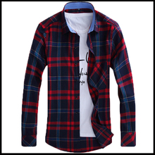 Factory Sale! 2015 Men Shirt Causal Shirt Plaid Shirt Men's Long Sleeve Shirt Men 9 Colors Plus Size 38-44 Free Shipping 038-AG
