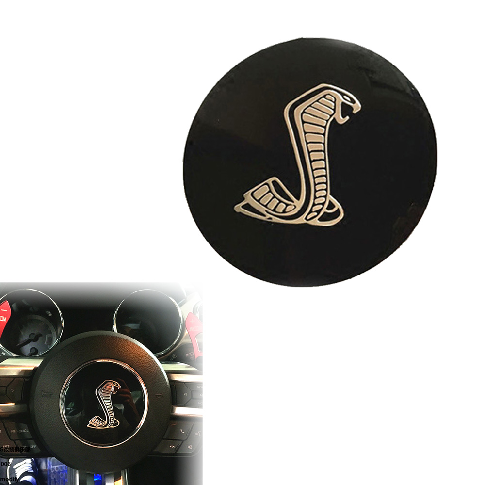 85mm Black Cobra Car Styling Steering Wheel Center Decorative Badge Sticker for Ford Mustang Shelby (0333)(China (Mainland))
