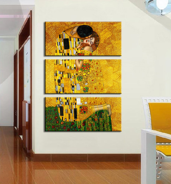 3pcs Gustav Klimt Printed Oil Painting On Canvas Wall Art Prints Picture For
