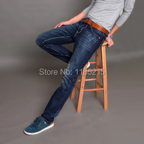 Free shipping 2014 new fashion men's electric mill cat claw marks hanging jeans casual men's long jeans pants Korean Slim(China (Mainland))