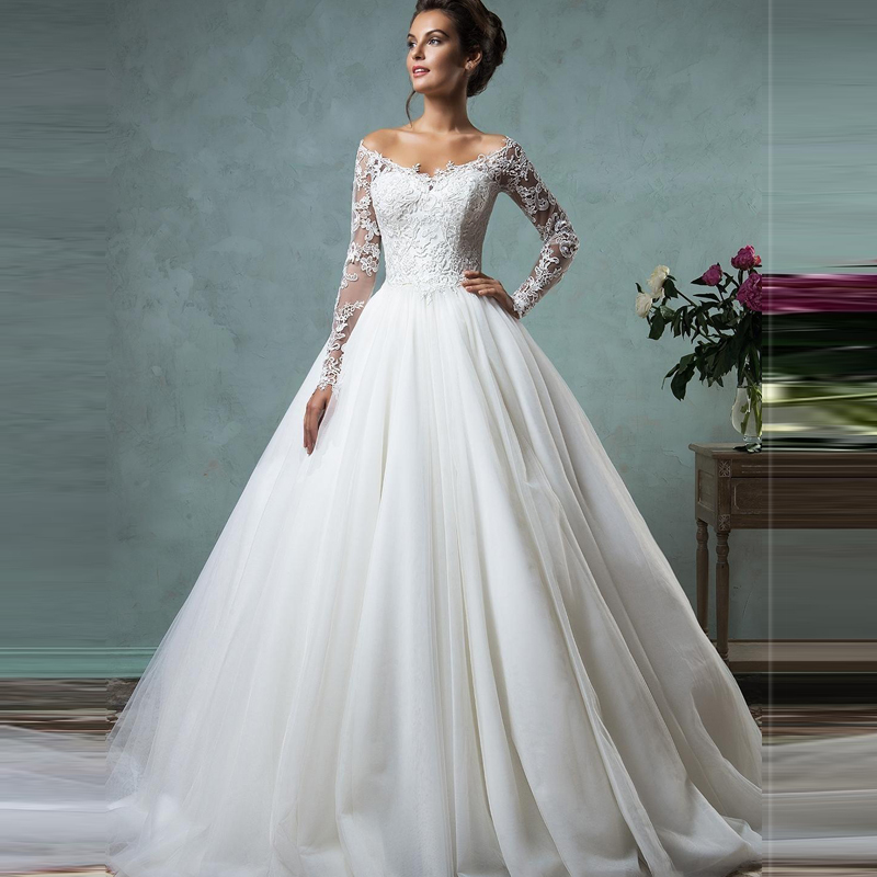 Vestido de novia 2016 cheap lace wedding dresses long for Long sleeve plus size wedding dress