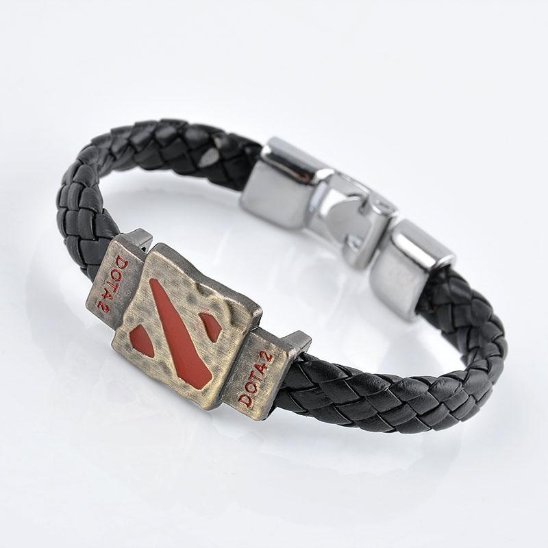 Metal Dotas 2 Game Leather Bracelet Men Bracelet Men Jewelry Boy Gift Cosplay Bangles Feather Braided Wristband Bracelet(China (Mainland))