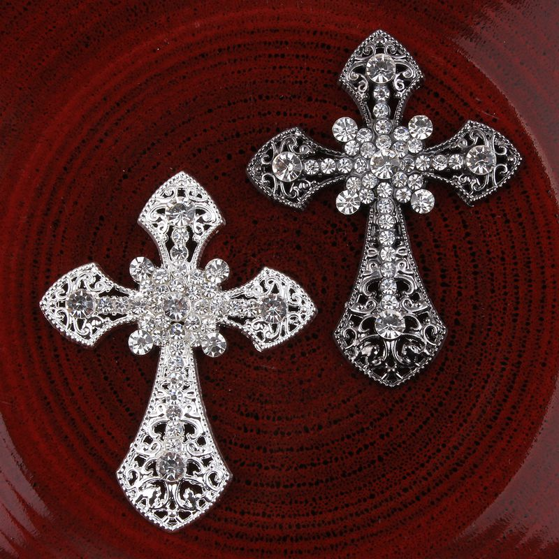 120pcs/lot Vintage Handmade Glitter Metal Rhinestone Latin Cross Button Alloy Crystal Flatback Cross Beads for Jewelry Findings