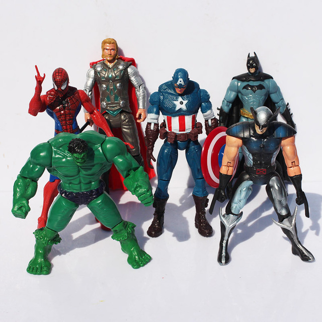 "The Avengers 5"" Captain America Wolverine Thor Spiderman Batman super heros 14cm Action Figures Toy Set of 6 Free shipping"