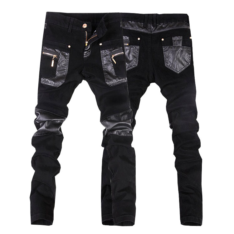 New arrivals free shipping casual mens slim fit leather pants men jeans trousers 28-34(small size)JP108Одежда и ак�е��уары<br><br><br>Aliexpress