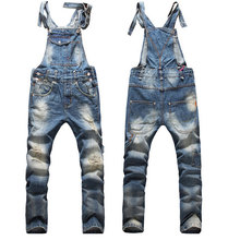 Fashion Ripped Mens Bib Overalls Jeans 2016 Brand Designer Casual Distrressed Denim Jumpsuit Long Jeans Blue Pants For Man(China (Mainland))