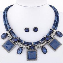 African Wedding Jewelry Sets Resin Gems Leather Necklace Earrings Set Square Geometric Jewelry Set Joyeria bijoux femme(China (Mainland))