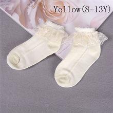 Oddychająca bawełniana koronka, falbany z siatką w stylu księżniczki skarpetki dziecięca kostka krótka skarpeta biały różowy żółty dziewczynek dzieci maluch(China)