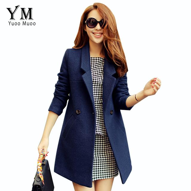 Коллекция 2015 года, высококачественное женское пальто на сезон осень-зима, шерстяное пальто для женщин, брендовый женский шерстяной жакет синего цвета средней длины.