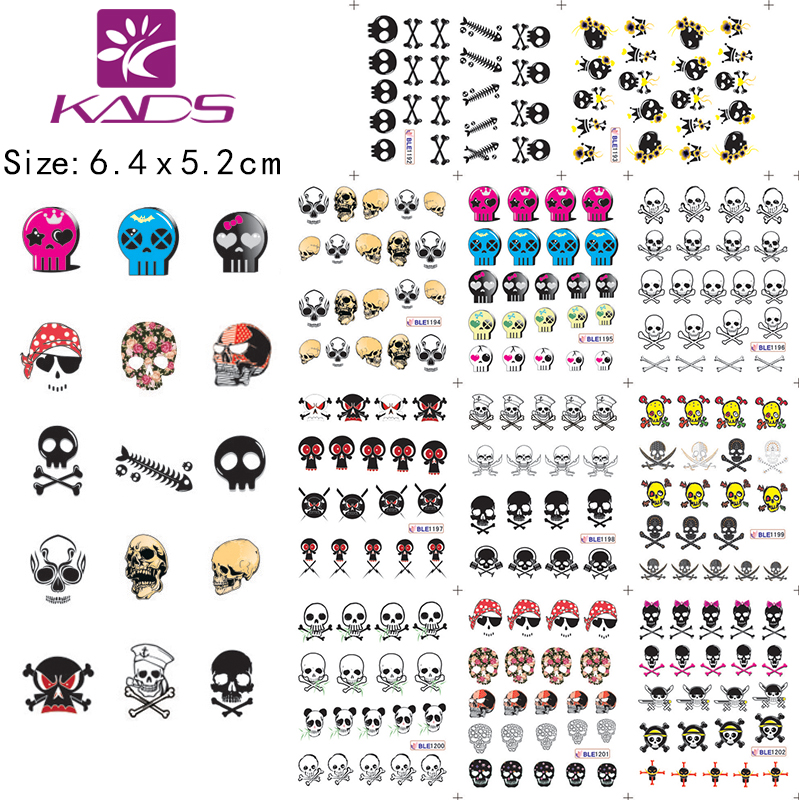 BLE1192-1202 fashion skull Cartoon style nail stickers Water Transfer on Nail art decals decoration cheap nail stickers(China (Mainland))