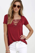 Summer Fashion Women T-shirts Short Sleeve Sexy Deep V Neck Bandage Shirts Women Lace Up Tops Tees T Shirt plus size  LJ3422M(China (Mainland))