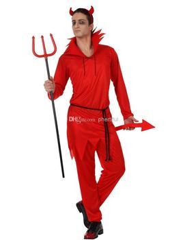 Оптовая продажа - 2014 Новый стиль хэллоуин косплей костюм ну вечеринку одежда для взрослого мужчины трикотажные костюм с головной убор, хвост waistban