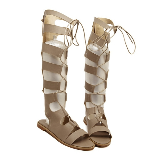 2015 Brand Style Gladiator Boot Sandals Flat Heel Lace-Up Summer Boots Cross Tie Genuine Leather Knee High Sandals Boots DR048