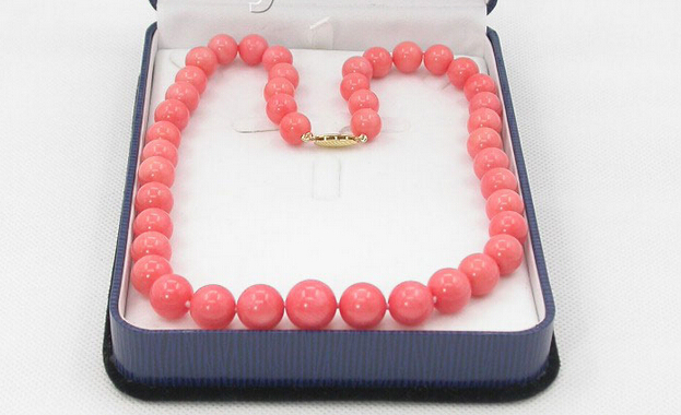 "wholesale GRADUATED 17"" 100% NATURAL 12MM PINK CORAL NECKLACE 14K GOLD CLASP Jewellery Crystal Women free shipping(China (Mainland))"