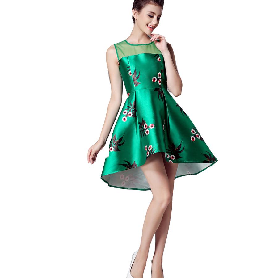 New A-line Sleeveless Summer Autumn O-Neck Above Knee Mini Good Quality Casual Zipper Dresses Women Empire Print Flower Pattern(China (Mainland))