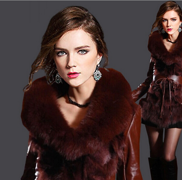 Women Leather fur coat women leather jacket Winter Motorcycle Brand leather Coat Outwear Women Stylish Slim Winter Faux Fur Coat(China (Mainland))