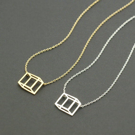 2015 Gold/Silver Fine Jewelry Stainless Steel Geometric Fashion 3D Cube Pendant Chain Necklace for Women(China (Mainland))