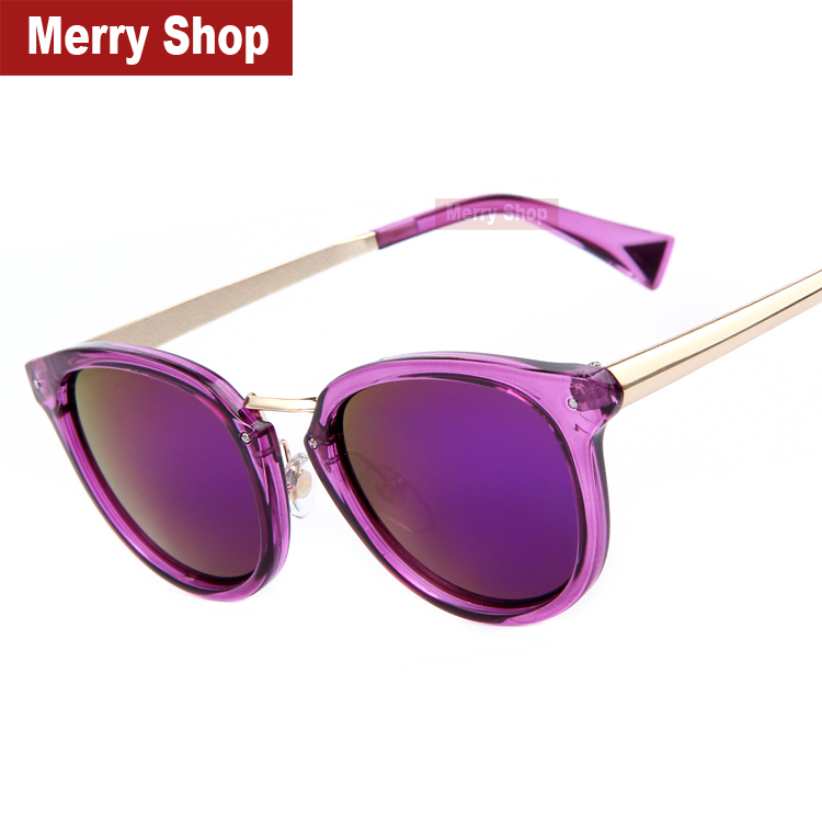 2015 New Brand Designer Fashion Women Purple Mirroed Sunglasses Women Dazzle Colour Frame Mirror Lens Cat Eye Sunglasses(China (Mainland))