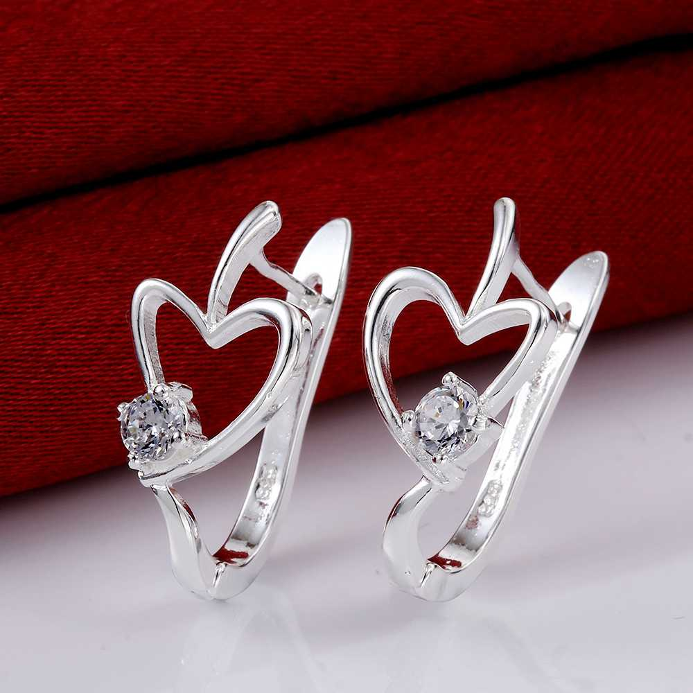 Free Shipping!!Wholesale 925 Silver Earring,Fashion Sterling Silver Jewelry,Heart Zircon Earrings Top Quality SMTE603