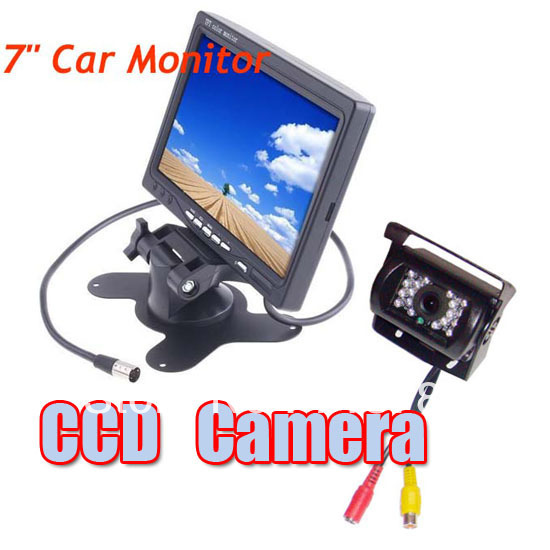 """7"""" LCD Monitor Car Rearview Kit for Long Bus Truck + Waterproof 18 IR LED CCD Reversing Camera with 10m cable Free Shipping"""