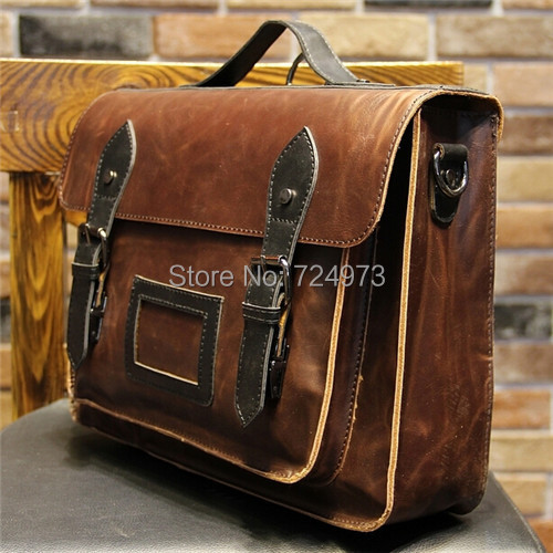 Vintage motorcycle designer brand men messenger bags Crazy Horse PU leather postman bag man casual shoulder-bags tactical bag(China (Mainland))