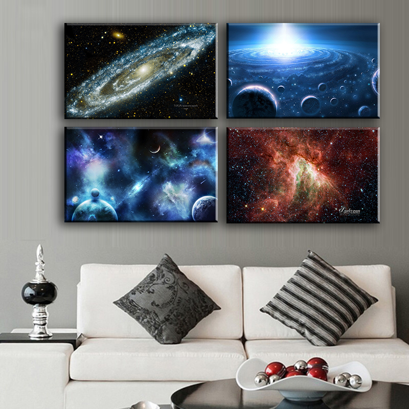 4PCS space body Wall painting print on canvas for home decor ideas paints on wall pictures art No framed(China (Mainland))