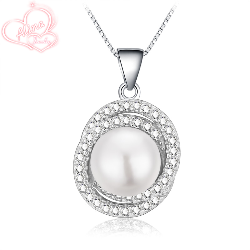 2016 New Collares Genuine sterling silver jewelry Necklace 925 Sterling Silver Pendant Necklaces for Women Pearl Jewelry AJN111(China (Mainland))
