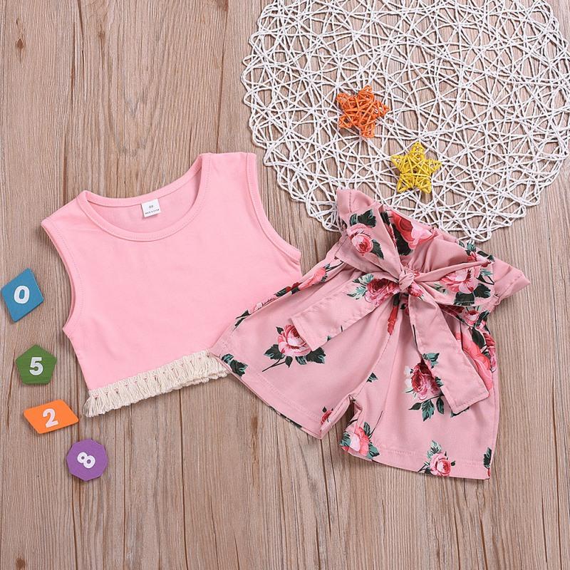 Одежда для маленьких девочек летний однотонный розовый жилет шорты с принтом CG0431P (2)