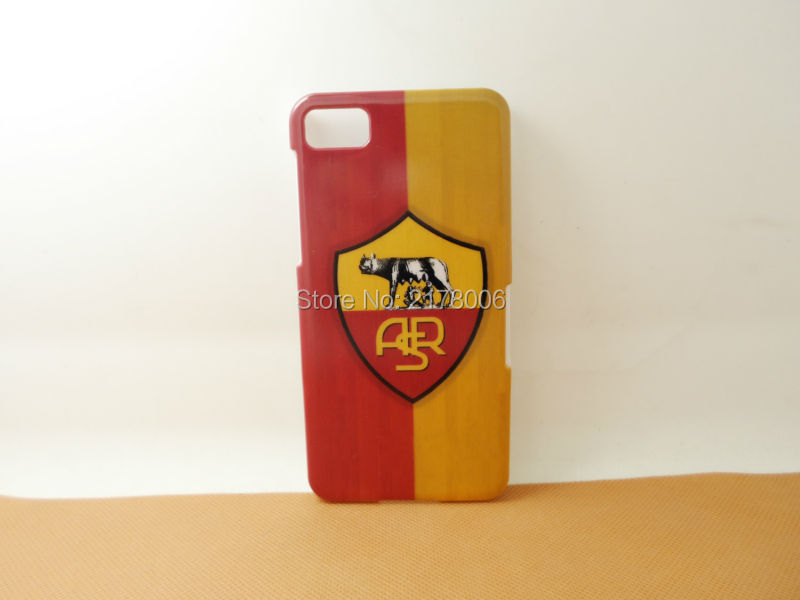 1 piece Free Shipping Painting Printed AS Roma Logo White Plastic Hard Skin Cover For BlackBerry Z10 Mobile Cell Phone Case(China (Mainland))