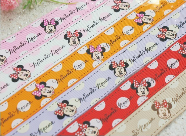"50 yards1"" 25mm 4 color oil screen print Mickey minnie mouse gift ribbon hairbow ribbon AV054 6 color(China (Mainland))"