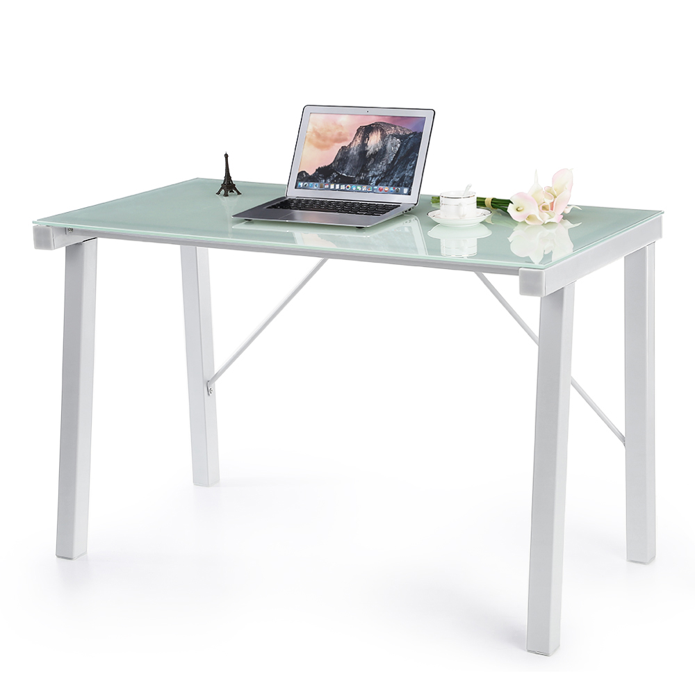 iKayaa Computer Desk Table PC Laptop Office Workstation Tempered Glass Top 120KG Load Capacity Home Office Furniture Study Desk(China (Mainland))