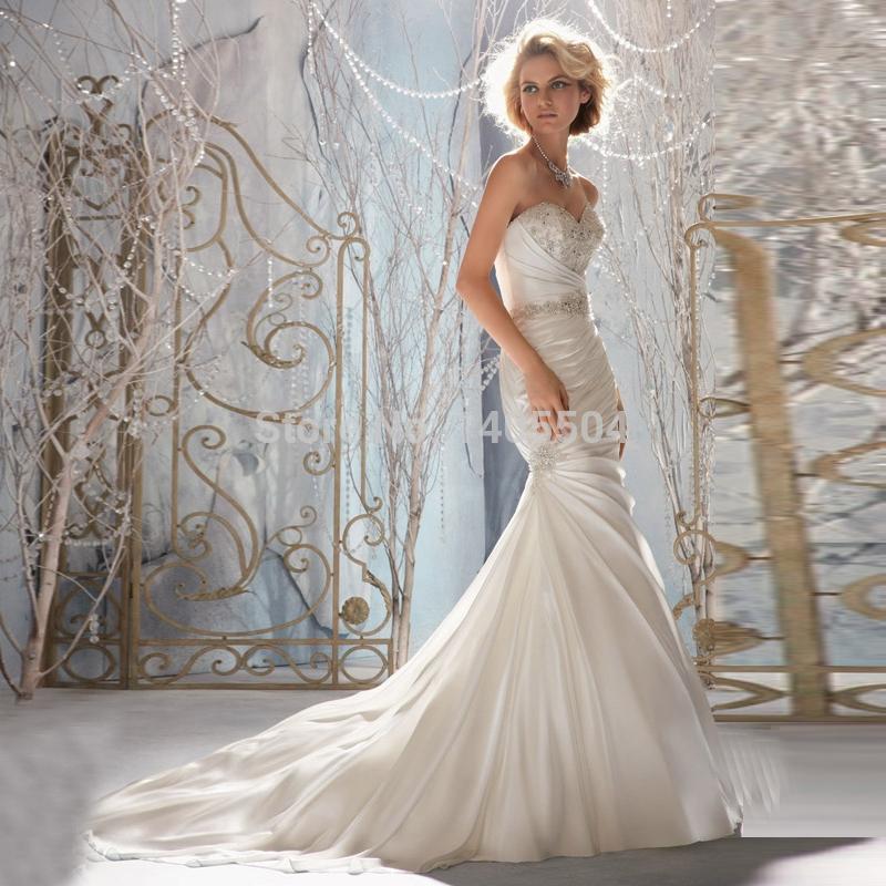 Mermaid Wedding Dresses Pleated : Rhinestone wedding dress new arrival bridal gowns