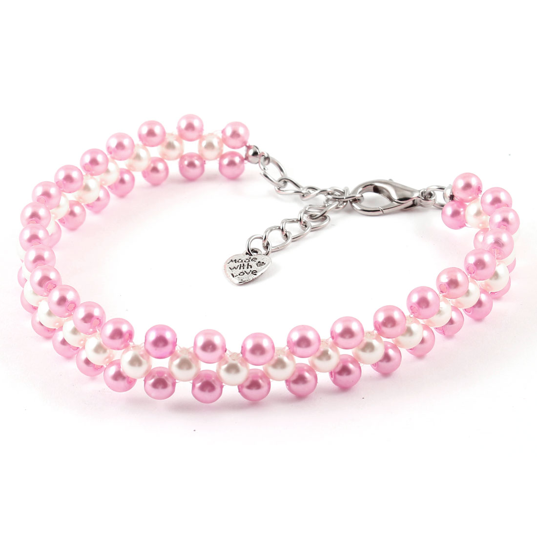 Round Beads Ornament Stretchy Pet Dog Puppy Cat Collar Necklace Pink White M(China (Mainland))
