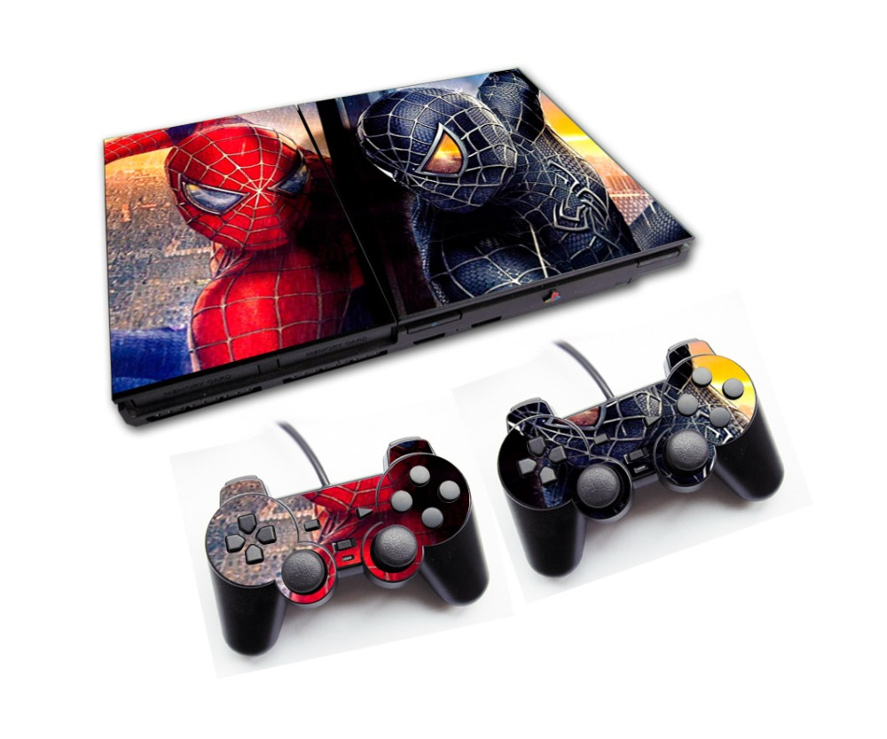New Spider-man Sticker for Playstation 2 Game Console Skin Slim+2PCS Skins for PS2 Console With Controllers Wholesale(China (Mainland))
