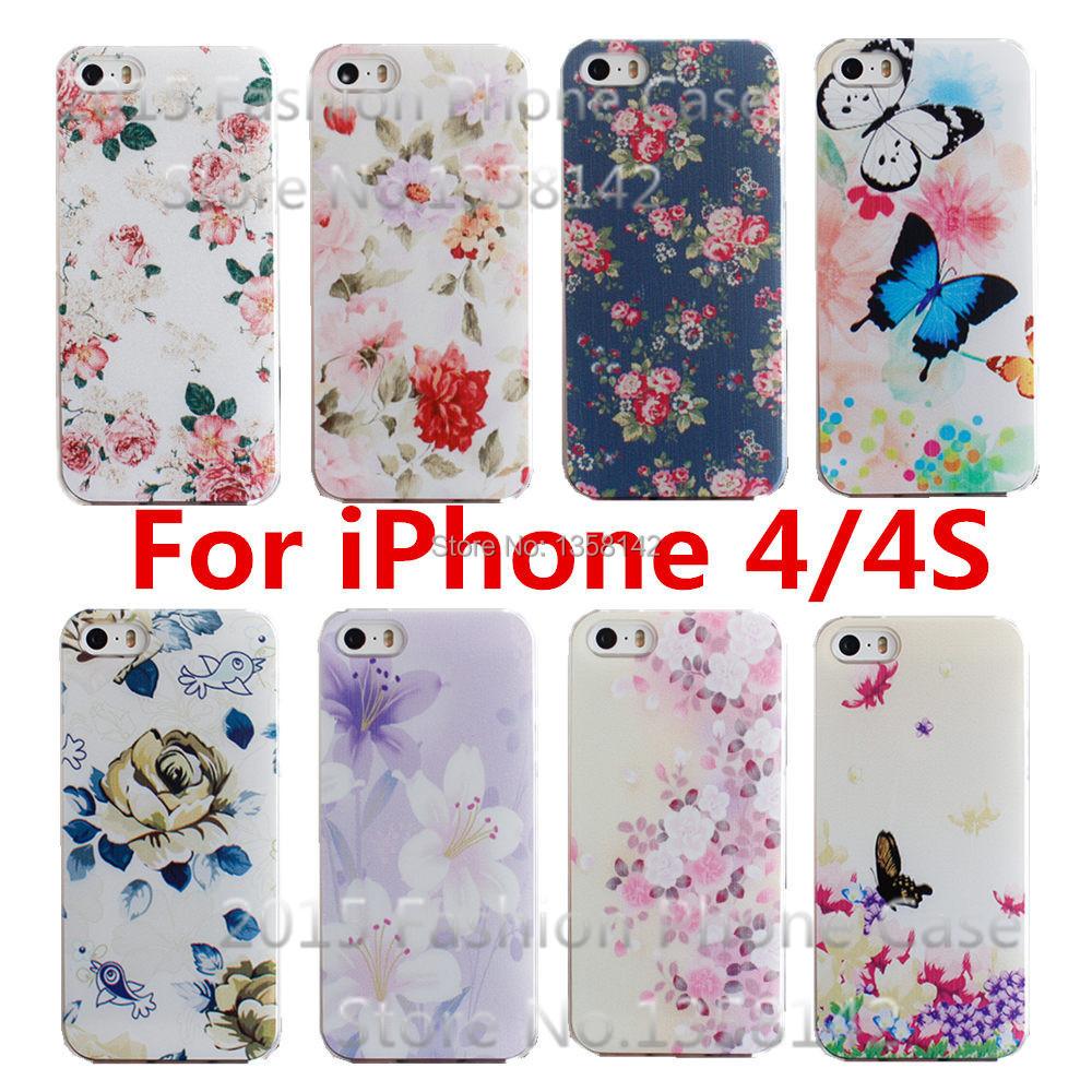 Гаджет  2015 New Arrive Flower 17 Design Painted Black Cover Case For Apple i Phone iPhone 4 4S 4G 1Piece Free Shipping None Телефоны и Телекоммуникации