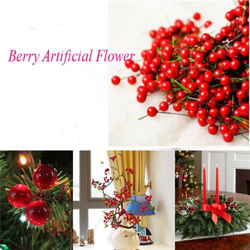 100pcs/lot Artificial Holly Berries Flower Silk Flowers Fruits Wedding Christmas Artificial Bonsai Plants Home Decoration(China (Mainland))