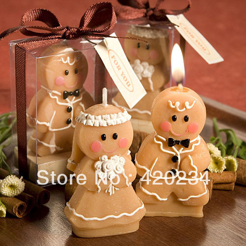 Adorable Gingerbread Bride & Groom Candle Favors wedding accessorie party wedding giveaway gifts wedding supplies centerpieces