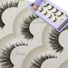 Fashion Makekup Handmade False Eyelash 5 Pairs Long Black Soft Fake Eye Lash Extension(China (Mainland))