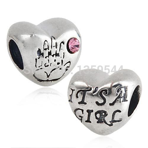 IT IS A GIRL Heart  with Pink Crystal 100% 925 Sterling Silver Charm Beads Fits Pandora European Charms Bracelet S1(China (Mainland))