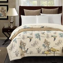 RUOYILAN Cotton Bedspread American Pastoral print Throws summer thin Comforter stiching Duvet Quilt(China (Mainland))
