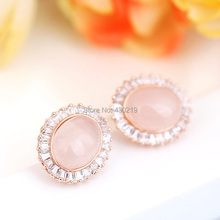 E321567 New zircon Crystal pink oval opal earring Zinc Alloy 18K Rose gold platium Plated With Austria crystal Fashion Jewelry(China (Mainland))