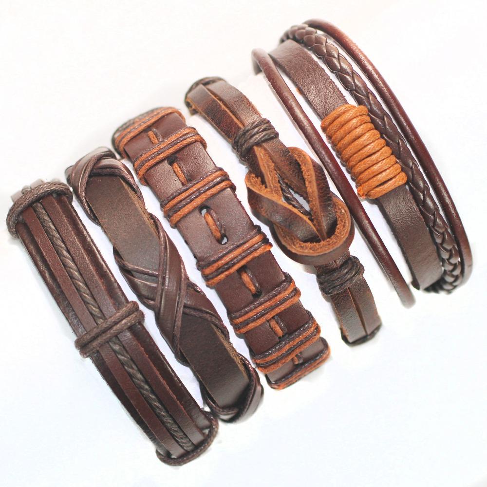 Гаджет  FL54-free shipping (5pcs/lot)2013 latest fashion all brown tribal ethnic leather bracelet  handmade genuine charms for gift None Ювелирные изделия и часы