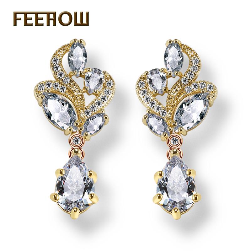 FEEROW 3 Color Fashion Bridal Jewelry Marquise Flower Hang Pear Shape AAA+ Cubic Zirconia Diamond Women Dangle Earrings FWEP263(China (Mainland))