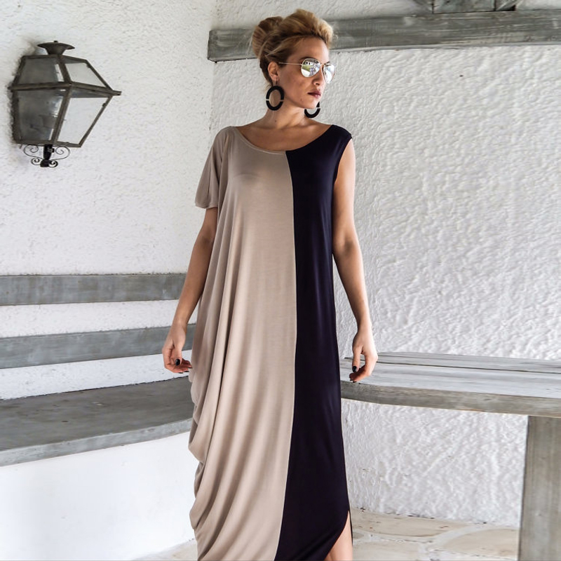 2017 New Spring Maxi O-neck Casual Ankle-length Big Sizes Loose Robe Party Sexy Women's Dress Large Size Women Clothes A0202(China (Mainland))