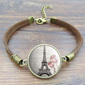 Vintage Brown Rope Bracelet Beautiful Eiffel Tower Glass Art Picture Handcrafted DIY Charm Bracelets for Women