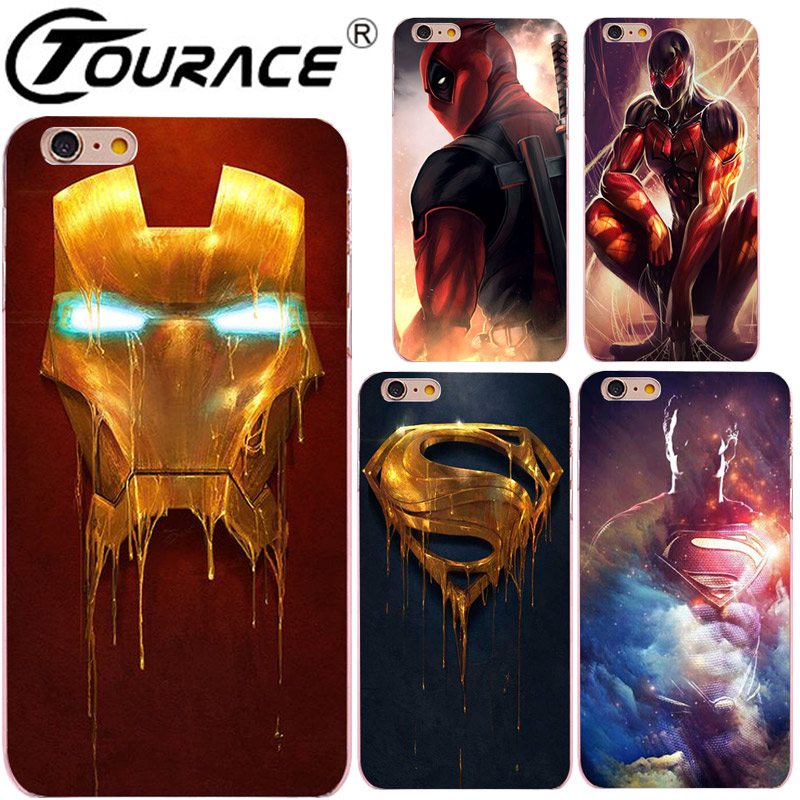 Avengers Hard PC marvel coque phone cover cases for iPhone5s 6 6S PLUS case shell cover Captain SuperMan Deadpool fundas capa(China (Mainland))